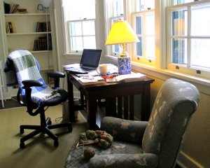 My favorite writing place at Ragdale.  In my room overlooking the prairie.